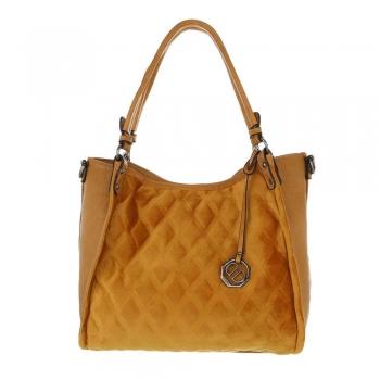 Дамска чанта с кадифен релеф в жълто