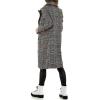 Карирано палто Voyelles в светло сиво