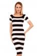 Ежедневна раирана рокля Moody's - черно и бяло