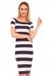 Ежедневна раирана рокля Moody's - бяло и тъмносиньо
