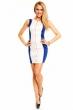 Атрактивна двуцветна рокля Mayaadi - бяло и синьо