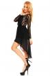 Асиметрична рокля композиця от дантела и шифон Mayaadi в черен цвят