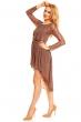 Асиметрична рокля композиця от дантела и шифон Mayaadi в кафяв цвят