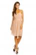 Плисирана рокля без презрамки Mayaadi в цвят мляко с какао