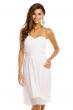 Плисирана рокля без презрамки Mayaadi в снежно бял цвят