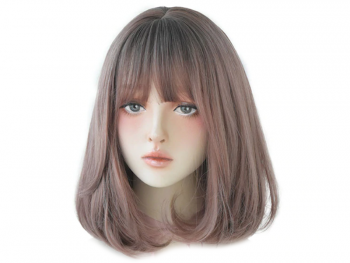 Права дамска перука с бретон - 34 см - опушен цвят - D3106-4