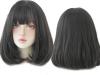 Права дамска перука с бретон - 34 см - опушен цвят - D3106-1