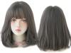 Права дамска перука с бретон - 34 см - опушен цвят - D3106-2