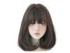 Права дамска перука с бретон - 34 см - опушен цвят - D3106-3