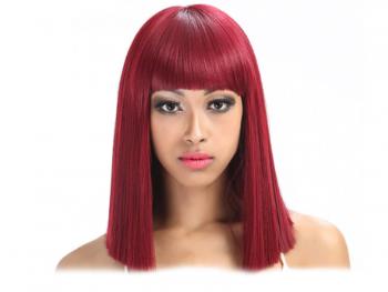 Права дамска перука с бретон - 34 см - червена