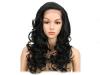 Дамска синтетична перука на едри вълни 55 см - в черно