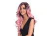 Дамска синтетична перука на едри вълни 55 см - в розово-златисто