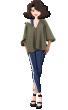 Широка дамска блуза в цвят каки JCL