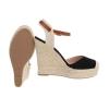 Летни дамски обувки с плетена платформа - черно