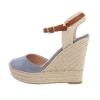 Летни дамски обувки с плетена платформа - сини