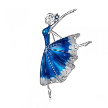 Нежна цветна брошка балерина в сребристо