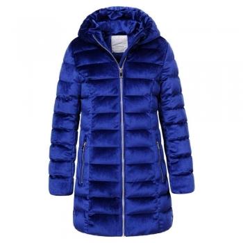 Детско зимно яке за момиче в интензивно синьо ефект плюш