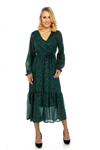 Елегантна дълга дамска рокля в тъмнозелено