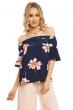Дамска блуза в тъмносиньо на цветя